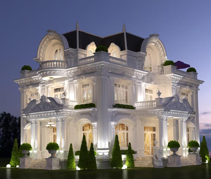 Thiết kế kiến trúc mẫu biệt thự cổ điển châu âu ở Đà Lạt